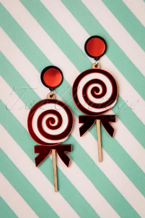 Love Ur Look 28094 Earrings Red White Wood Lollypop 60s Swirl 20190207 010W