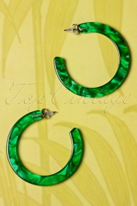 60s Marble Look Hoop Earrings in Green