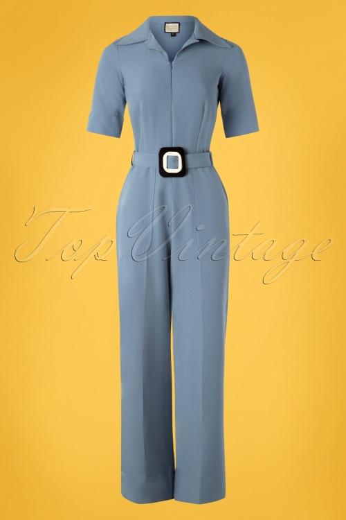 Mademoiselle Yeye 27075 Vintage Baby Jumpsuit Blue Belt 20190207 003W
