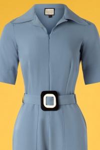 Mademoiselle Yeye 27075 Vintage Baby Jumpsuit Blue Belt 20190207 003V