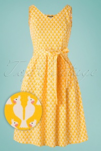 60s Sing Me A Song Cockatoo Dress in Yellow