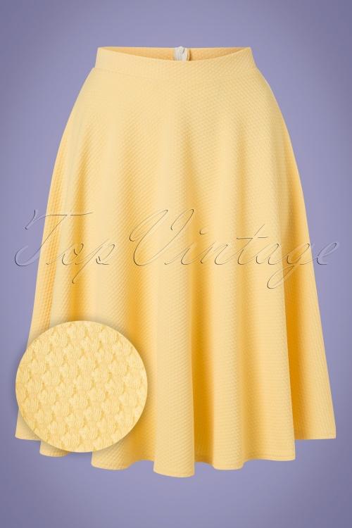 Vintage Chic 28777 Yellow Jacquard Swing Skirt 20190208 001V