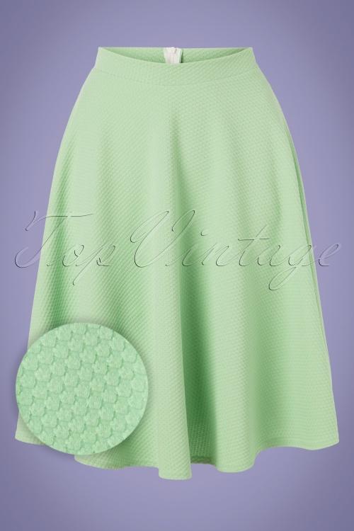 Vintage Chic 28778 Green Jacquard Swing Skirt 20190208 002W1