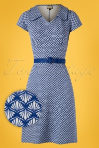 60s Vintage Moments Dress in Art Deco Blue