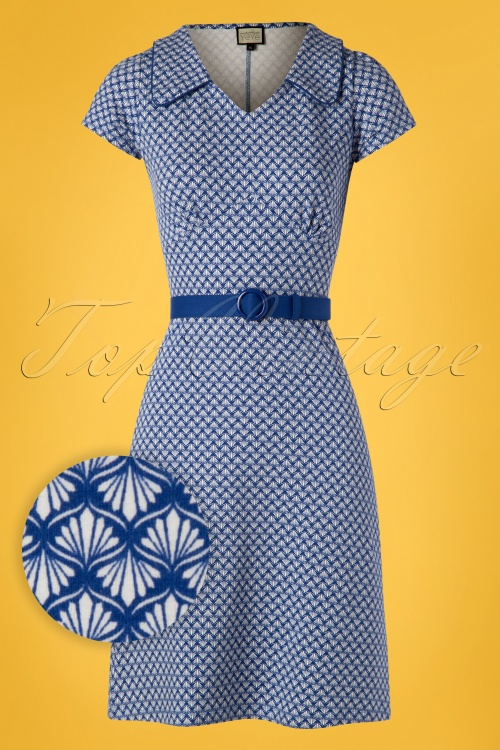 Mademoiselle Yeye 27076 Dress Vintage Mom Blue Belt 20190207 001W1