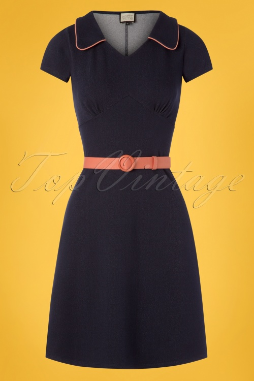 Mademoiselle Yeye 27077 Vintage Mom Denim Blue Pink Belt Dress 20190207 001W
