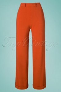40s Ethel Woven Crepe Pants in Clay Red