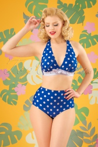 50s Missy Dots Bikini Top in Blue and White