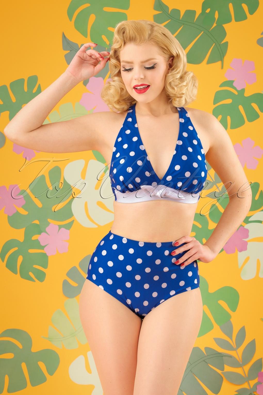 Missy Dots Bikini Top Années 50 en Bleu et Blanc