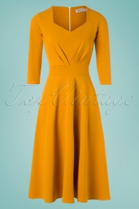 Vintage Chic for TopVintage 50s Ruby Swing Dress in Gold Yellow