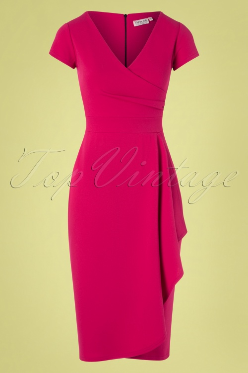 Vintage Chic 28744 50s Crystal Pencil Dress in Magenta 20190208 003W