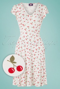 TopVintage Boutique Collection 50s Rosemary Cherry Swing Dress in Ivory White