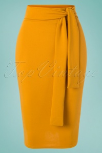 Shana Pencil Skirt Années 50 en Jaune Moutarde