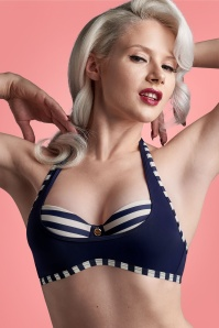 Marlies Dekkers 50s Marinière Balcony Bikini Top in Blue and Ivory