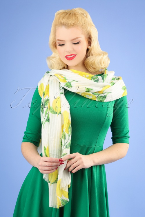 Amici 28018 50s Gloria Lemon Scarf White Yellow 20190131 001W