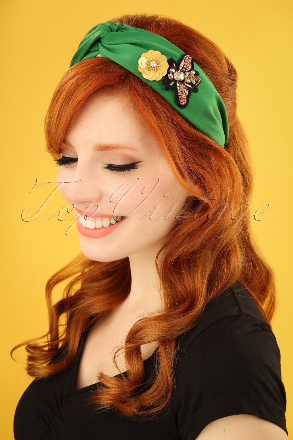 70s Bedazzled Head Band in Emerald Green