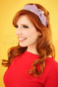 50s Striped Head Band in Red and Blue
