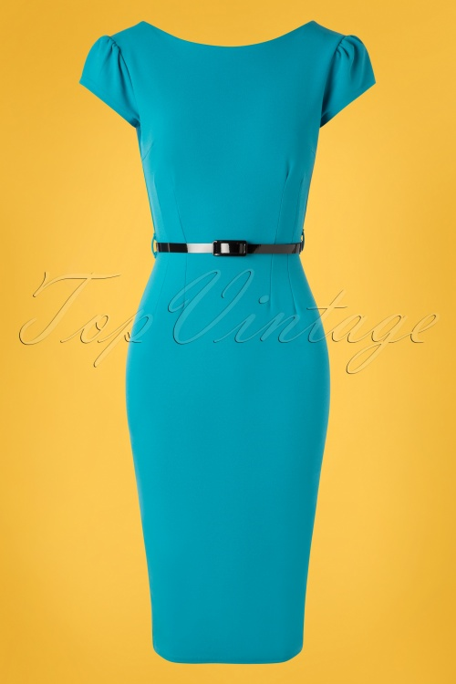 Vintage Chic 28741 Pencil Dress Blue 20190207 002W