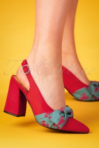 60s Yoora Slingback Pumps in Red