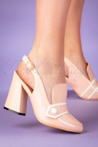60s Habana Patent Pumps in Beige