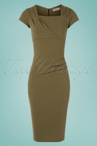 Vintage Chic for TopVintage 50s Laila Pleated Pencil Dress in Olive Green