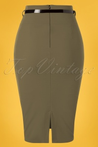 Vintage Chic 28740 Scube Crepe Olive Pencil Skirt 20190207 006W