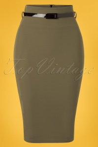 Vintage Chic 28740 Scube Crepe Olive Pencil Skirt 20190207 002W