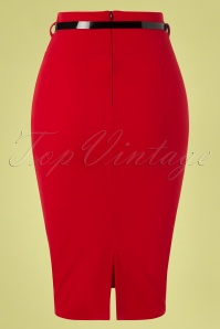 Vintage Chic 28739 Scube Crepe Red Pencil Skirt 20190207 006W