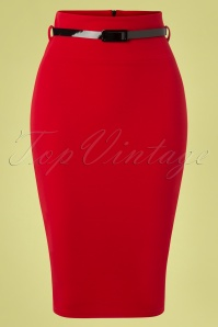 Feline Pencil Skirt Années 50 en Rouge Vif