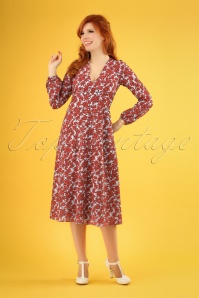 70s Mama Mia Fools Floral Swing Dress in Red
