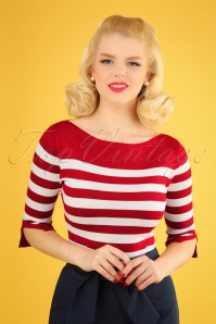 50s Sail Away Stripes Jumper in Red
