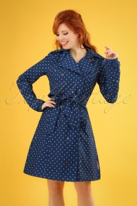 Blutsgeschwister 60s Spy of Love Trench Coat in Love Me Anchor Blue