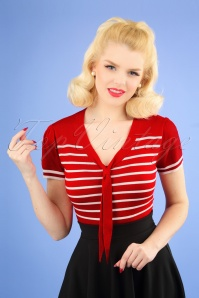 Sailor Stripe Tie Top Années 50 en Rouge Vif