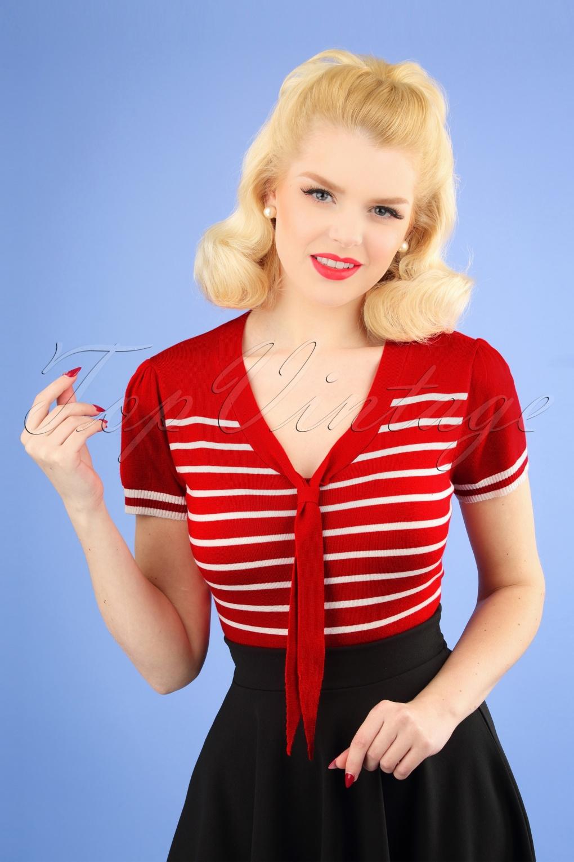 Sailor Dresses, Nautical Theme Dress, WW2 Dresses 50s Sailor Stripe Tie Top in Lipstick Red �33.54 AT vintagedancer.com