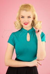 50s Mandarin Collar Top in Teal