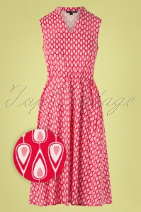 Dina Drawstring Dress Années 60 en Rouge Gouttelette