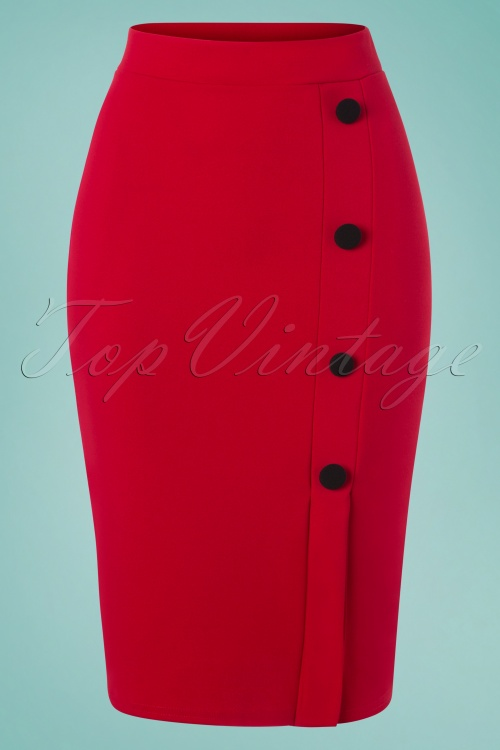 Vintage Chic 28736 Pencil Skirt in Red 20190208 002W