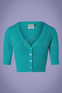 Banned 28559 50s Overload Cardigan in Teal Blue 20181213 003