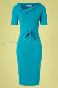 Vintage Chic 28742 Pencil Dress in Turquoise 20190208 002W