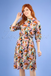 60s Lynda Leaf Dress in Pink