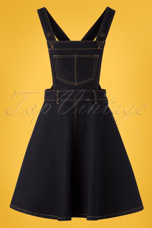 1950s Housewife Dress | 50s Day Dresses 50s Dakota Pinafore Dress in Denim £37.54 AT vintagedancer.com