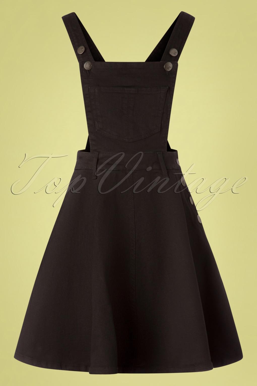 1950s Housewife Dress | 50s Day Dresses 50s Dakota Pinafore Dress in Black £37.54 AT vintagedancer.com