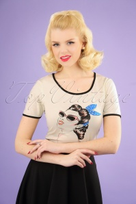 50s Retro Model T-Shirt in Cream