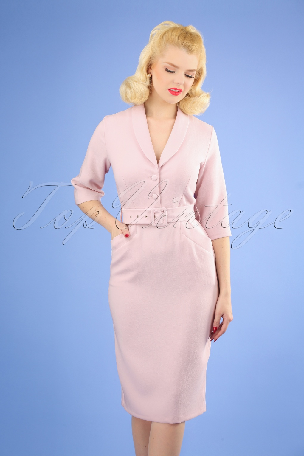 Authentic Natural 1950s Makeup History and Tutorial 60s Sherri Pencil Dress in Light Pink £81.19 AT vintagedancer.com