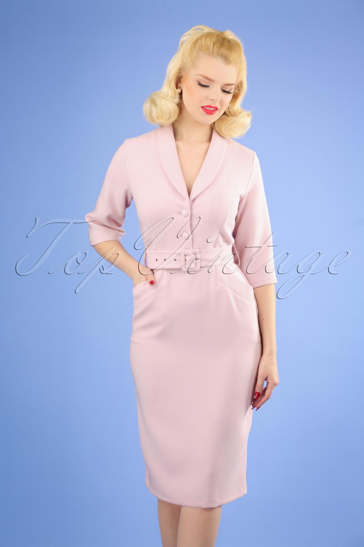 Pin Up Dresses | Pinup Clothing & Fashion 60s Sherri Pencil Dress in Light Pink £81.19 AT vintagedancer.com