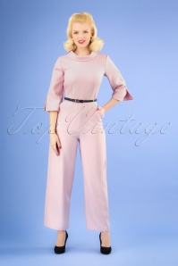 60s Funnel Collar Jumpsuit in Light Pink