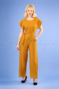 Closet London 70s Kiki Kimono Jumpsuit in Mustard
