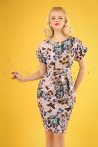 60s Judie Floral Dress in Dusty Pink