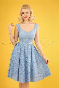 50s Love Lace Swing Dress in Lavender Blue