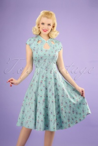 50s Peacock Swing Dress in Light Blue